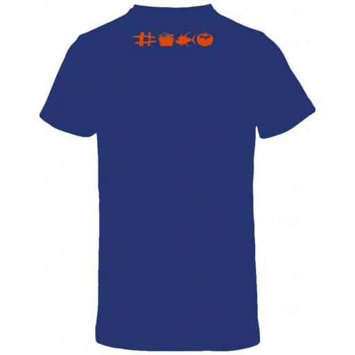 Camiseta azul con doble diseño de ajedrez [1]