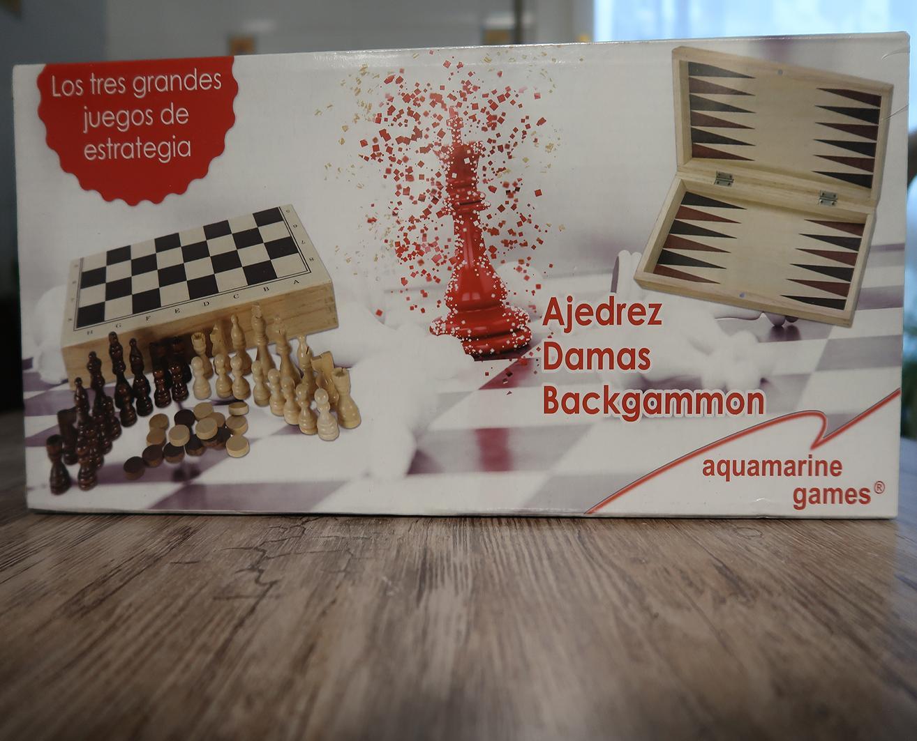 Estuche 3 en 1 Ajedrez-Damas-Backgammon (aquamarine game) madera