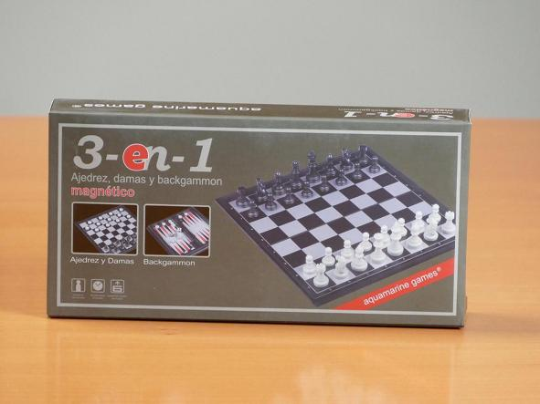 Estuche 3 en 1 magnético Ajedrez-Damas-Backgammon (aquamarine game)