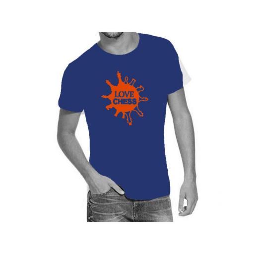 Camiseta azul con doble diseño de ajedrez