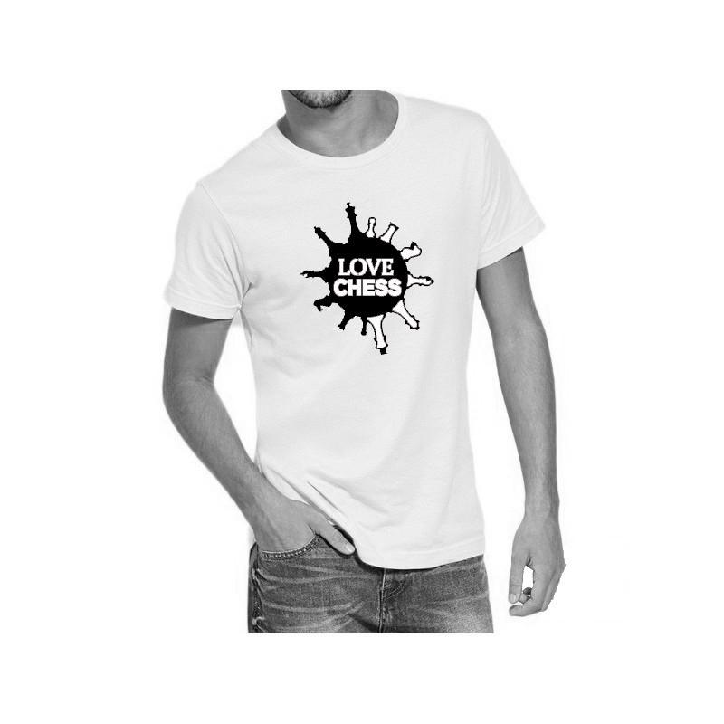 Camiseta blanca con doble diseño de ajedrez