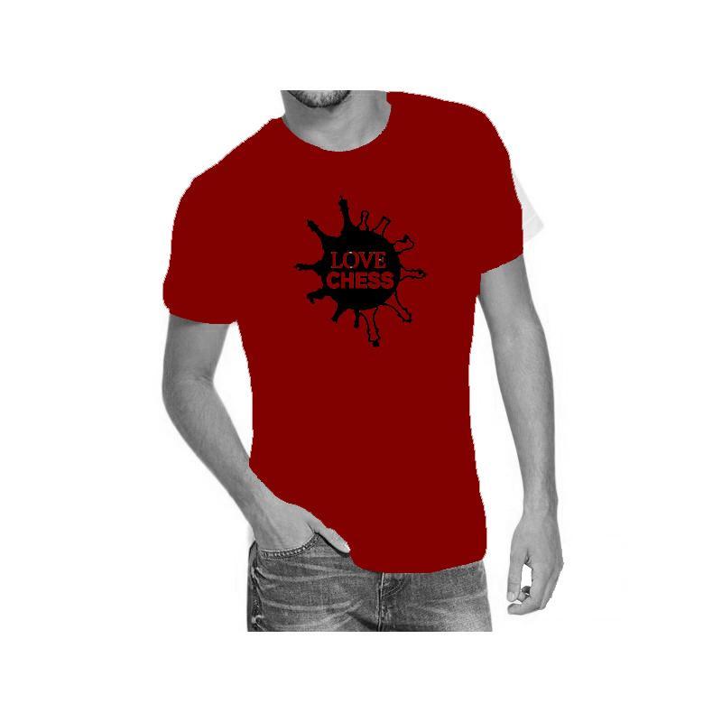 Camiseta roja con diseño Love Chess