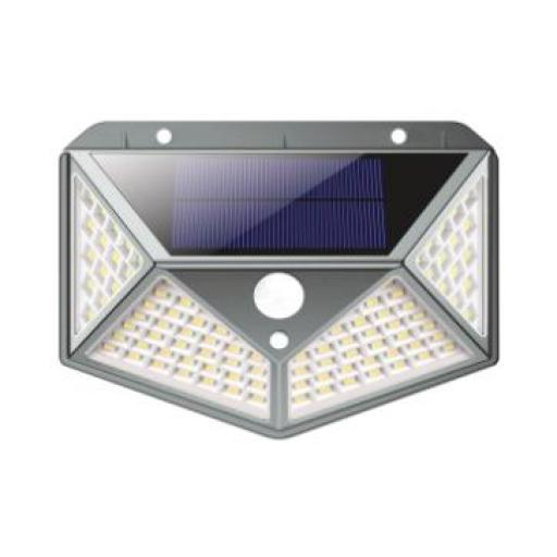 APLIQUE LED SOLAR PARED 100LED 8W IP65 (Seleccionar Color de Luz)