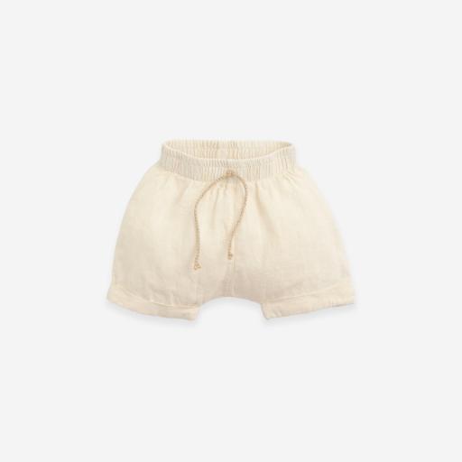 Pantalón corto de lino con bajo vuelto Play Up
