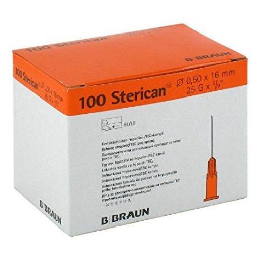 Aguja Sterican 25 G x 5/8 0.50 x 16 mm Naranja.