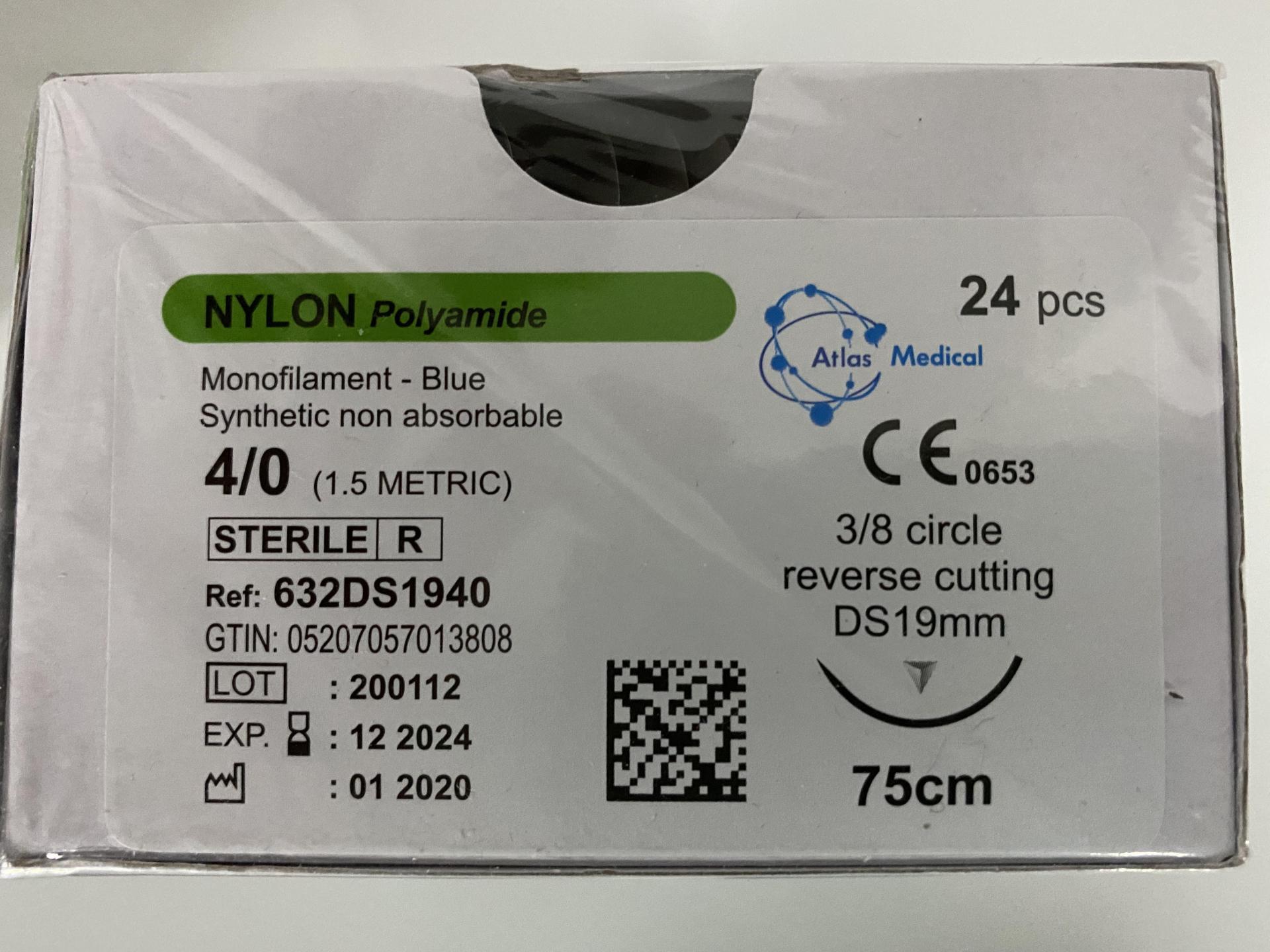 Sutura Nylon Polyamide 4/0 DS19 Caja (24 ud).