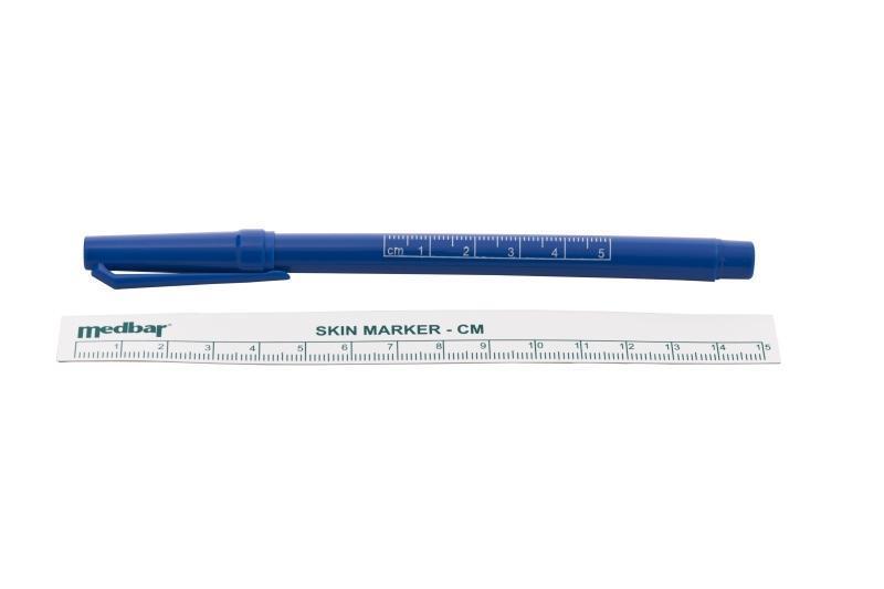 Rotulador Quirúrgico con regla para marcar piel punta fina C/50.