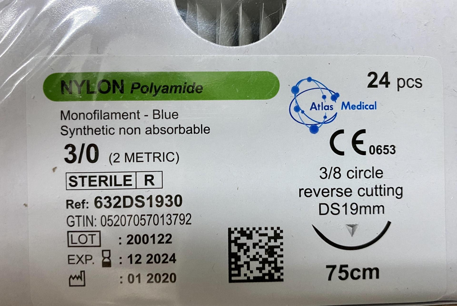 Sutura Nylon Polyamide 3/0 DS19 Caja (24 ud).