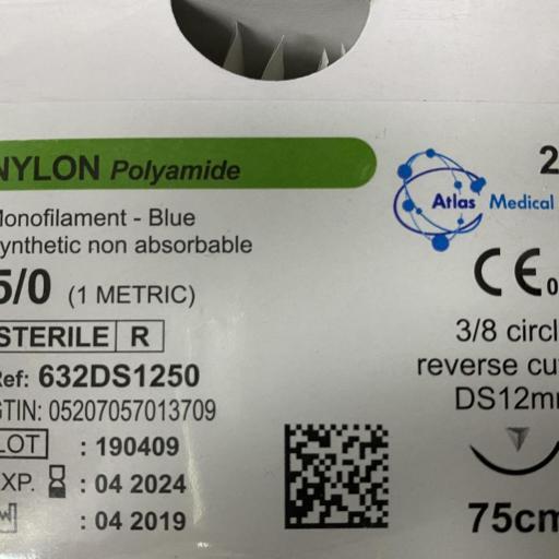 Sutura Nylon Polyamide 5/0 DS12 Caja (24 ud).