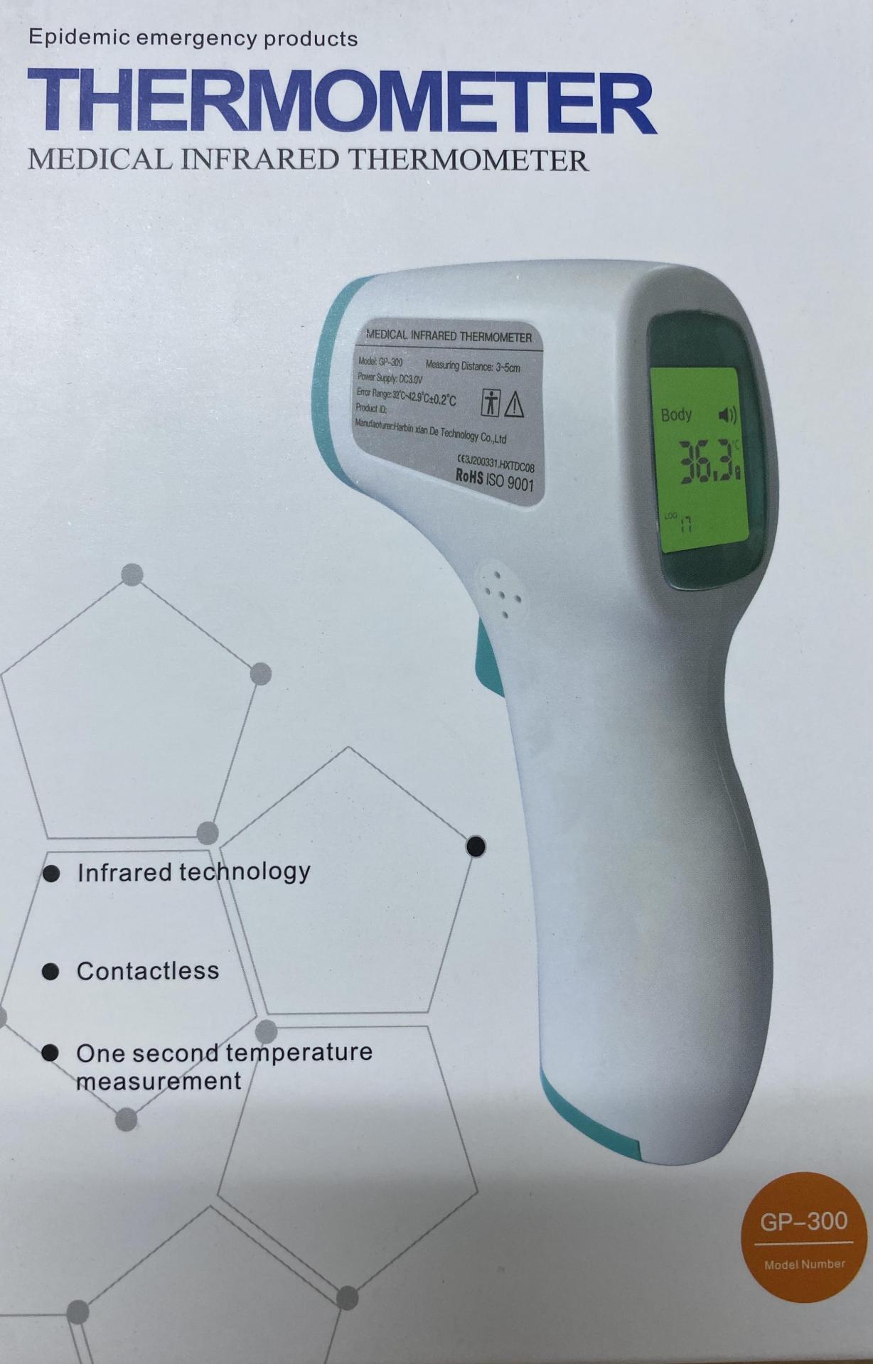 Termómetro por infrarrojos con medición sin contacto.