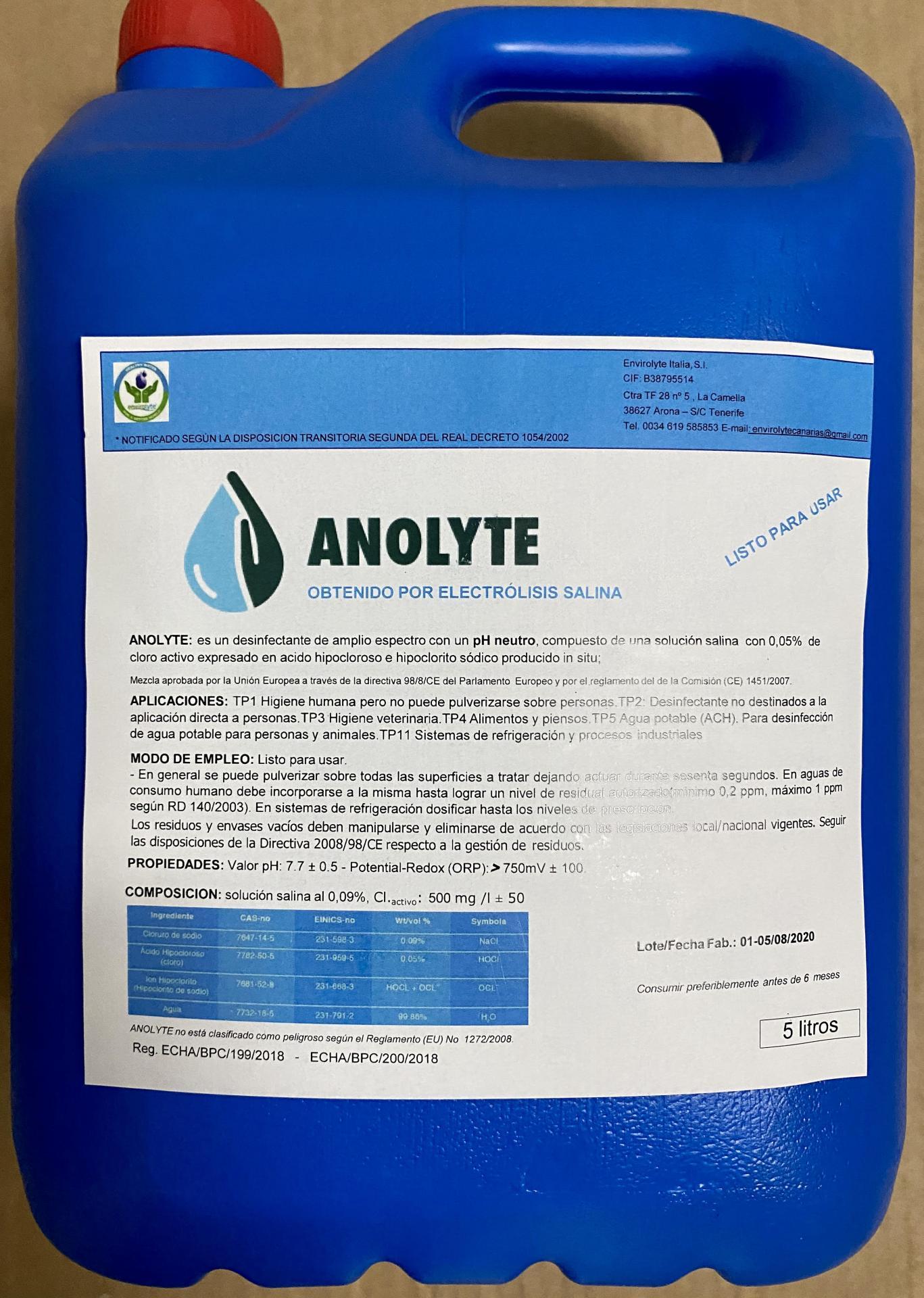 Antiséptico Desinfectante Anolyte ANK Plus 5000 ml.