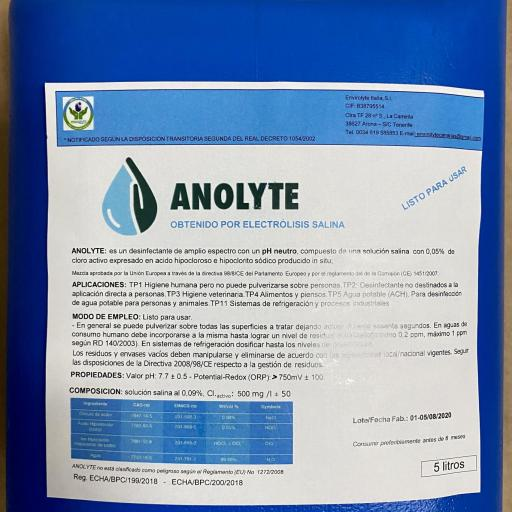 Antiséptico Desinfectante Anolyte ANK Plus 5000 ml.