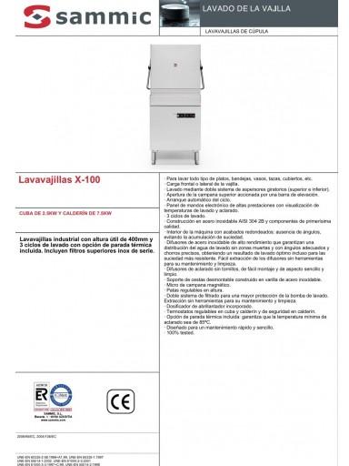 Lavavajillas de capota X-100 SAMMIC [1]