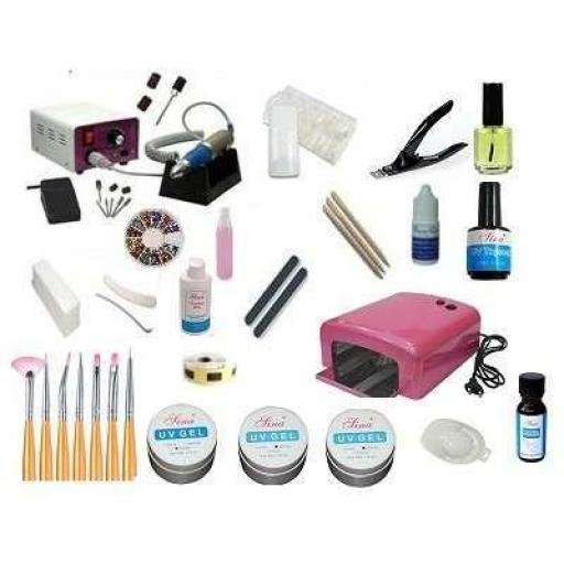 KIT UÑAS GEL LAMPARA + TORNO 30.000 RPM