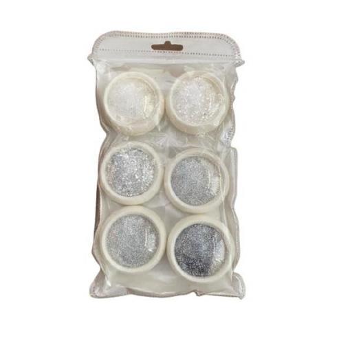 Set 6 Glitter Powder Silver