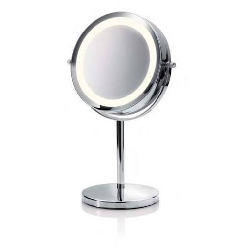 Espejo cosmético de aumento 5x con luces LED.