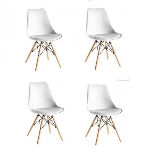 Pack 4 Sillas Eiffel Blancas con Cojín