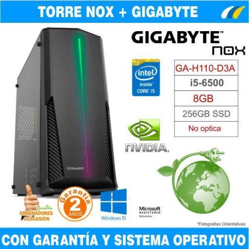 Intel Core  i5-6500 3.20 GHz - 8GB - 256GB - GA-H110-D3A - TORRE NOX HUMMER SPARK
