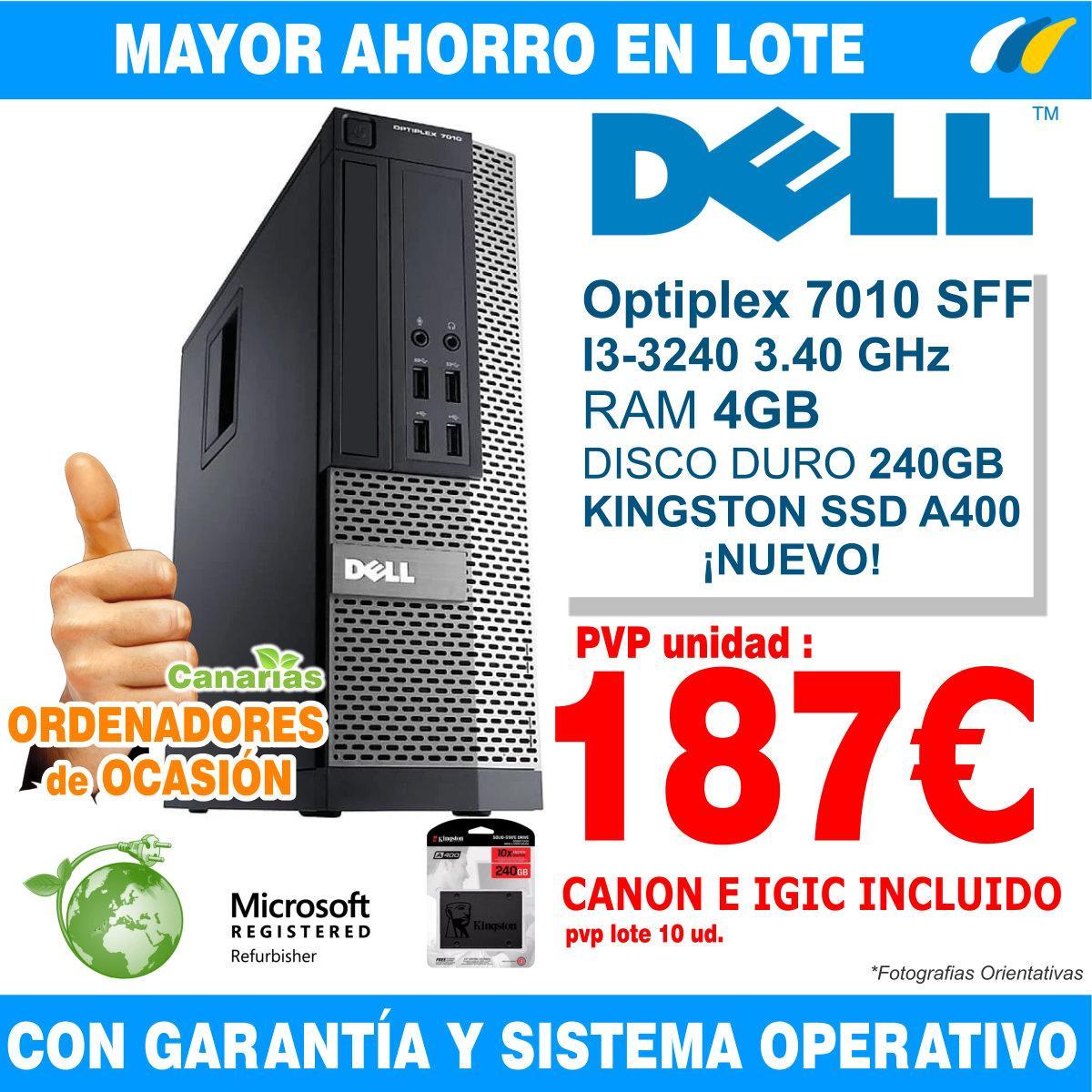 Lote 10  - DELL OPTIPLEX 7010 SFF i3-3240 - 4GB
