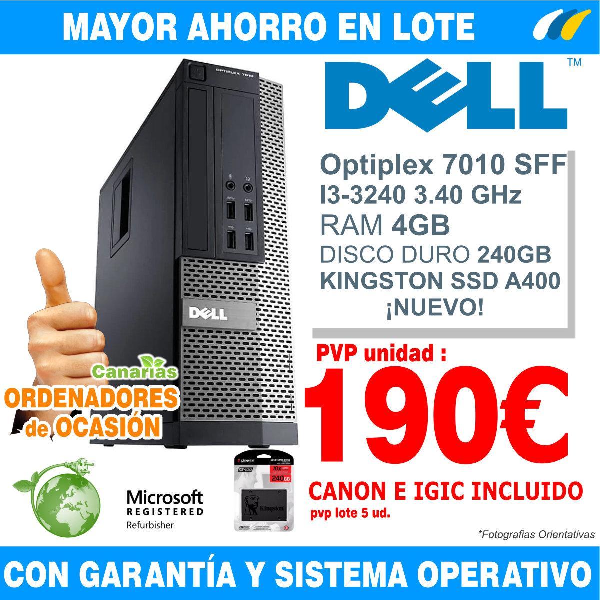 Lote 5  - DELL OPTIPLEX 7010 SFF i3-3240 - 4GB
