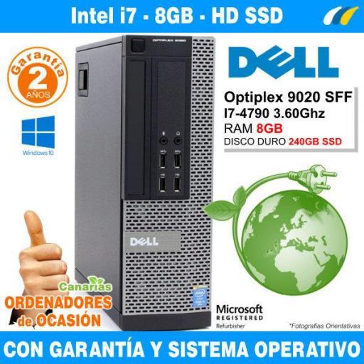 Intel Core I7-4790 3.60GHz - 8GB - 240GB SSD  - Dell Optiplex 9020 SFF
