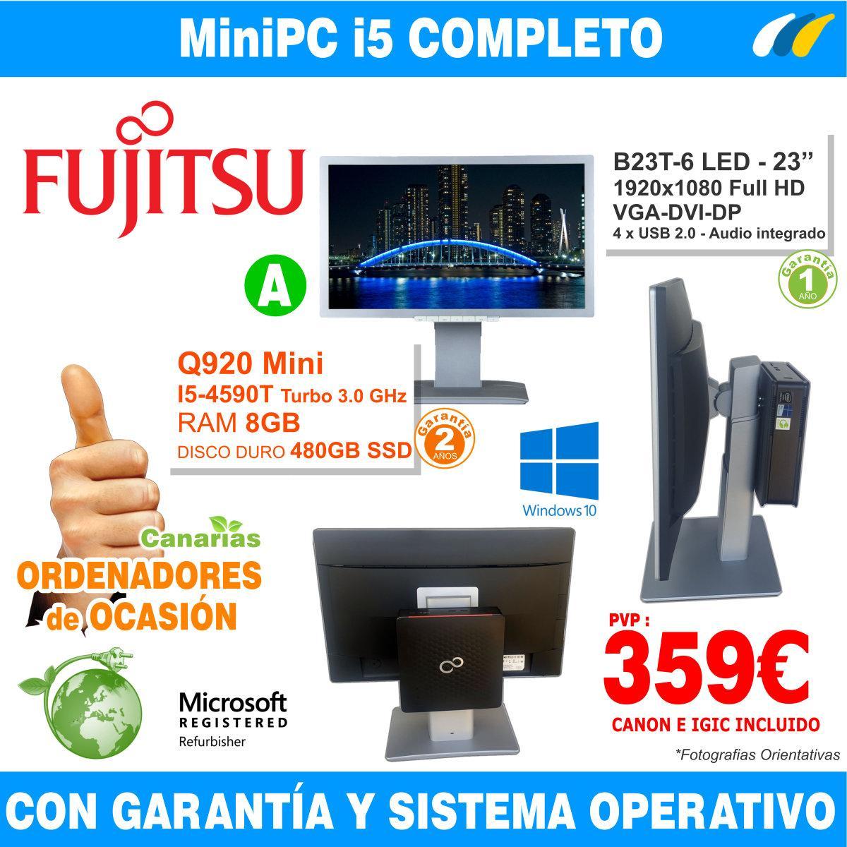Fujitsu Esprimo Q920 Mini PC - Monitor B23T-6 LED