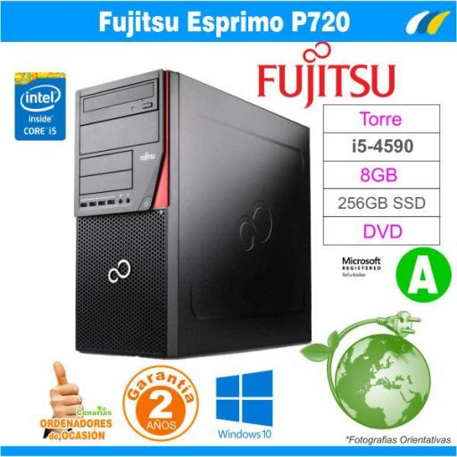 Intel Core I5-4590 3.30GHz - 8GB - 256GB SSD  - Fujitsu Esprimo P720 Tower