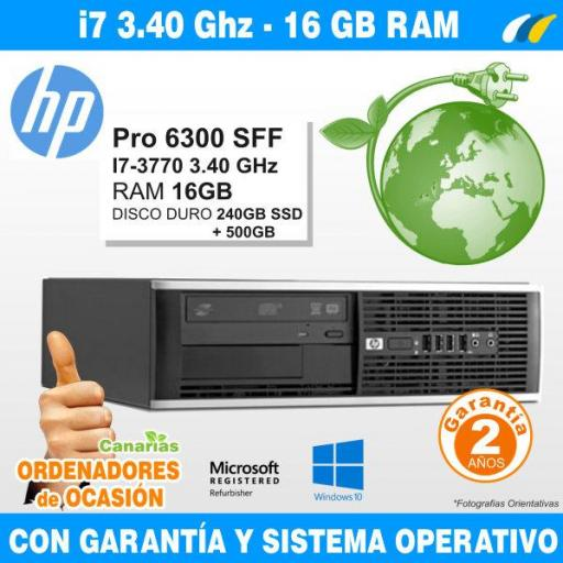 Intel Core i7-3770 3.40 GHz 16GB - HP COMPAQ PRO 6300 SFF