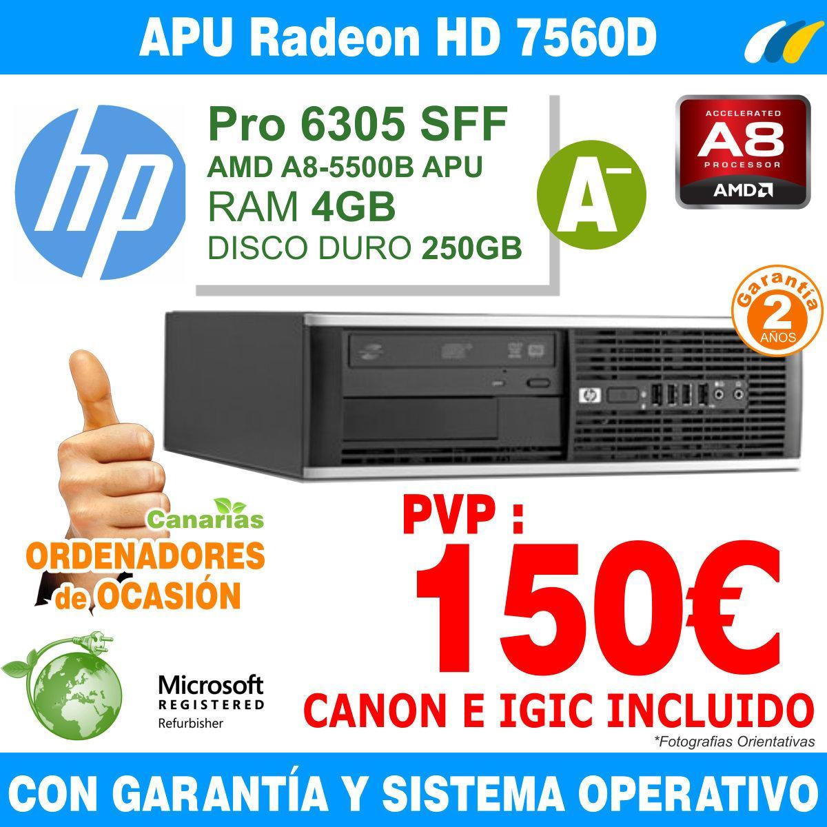 AMD A8-5500B APU 3.20 GHz 8GB 320GB - Hp Pro 6305 SFF