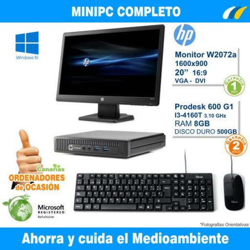 HP PRODESK 600 G1 DM + Monitor HP W2072a LED