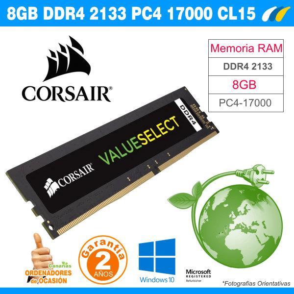 Corsair Value Select - Módulo de Memoria ordenador de 8 GB (1 x 8 GB, DDR4, 2133 MHz, CL15), Negro (CMV8GX4M1A2133C15)