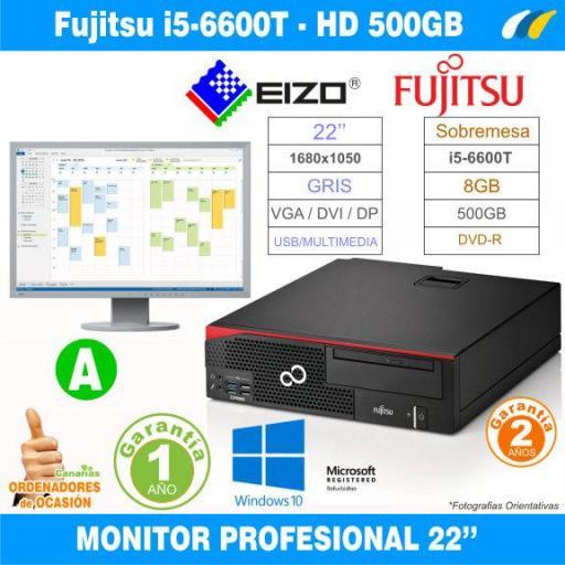 Monitor EIZO FlexScan EV2216W + Fujitsu Esprimo D756 Sobremesa - i5-6600T