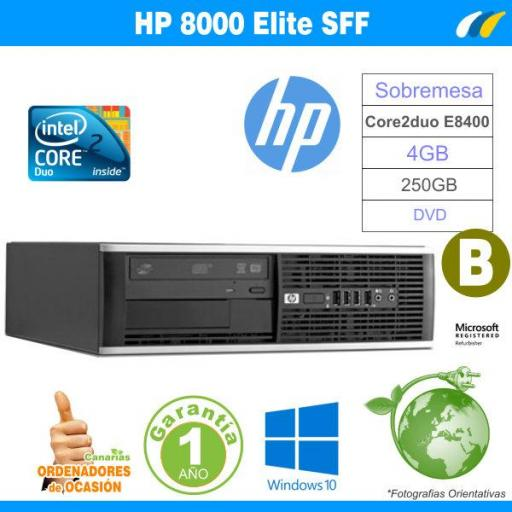 Intel E8400 3.00 GHz 4GB 250GB - Hp Elite 8000 / Pro 6000 SFF