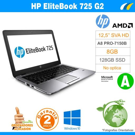 AMD A8 PRO-7150B – 8GB – 128GB SSD - HP EliteBook 725 G2