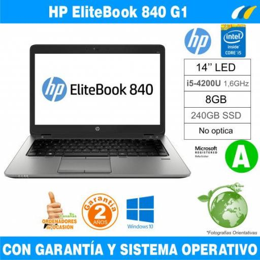 Intel i5-4200U 1,60 GHz  – 8GB – 240 GB SSD  - HP EliteBook 840 G1 - Grado A