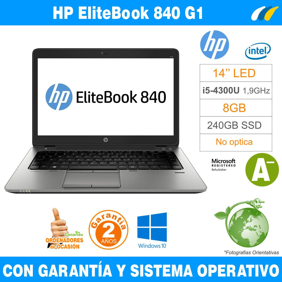 Intel i5-4300U 1,90 GHz  – 8GB – 240 GB SSD  - HP EliteBook 840 G1