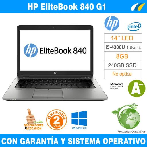Intel i5-4300U 1,90 GHz  – 8GB – 240 GB SSD  - HP EliteBook 840 G1 [0]