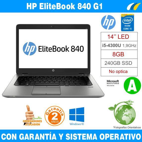 Intel i5-4300U 1,90 GHz  – 8GB – 240 GB SSD  - HP EliteBook 840 G1 - Grado A