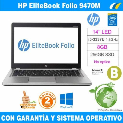 Intel i5-3337U 1,80 GHz  – 8GB – 256 GB SSD  - HP EliteBook Folio 9470M