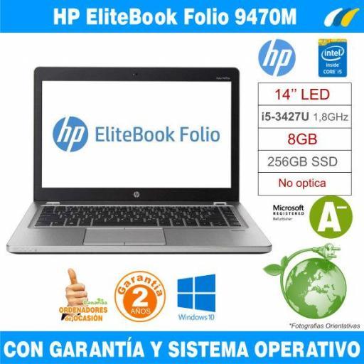 Intel i5-3427U 1,80 GHz  – 8GB – 256 GB SSD  - HP EliteBook Folio 9470M