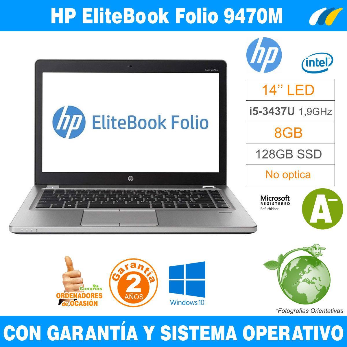 Intel i5-3437U 1,90 GHz  – 8GB – 128 GB SSD  - HP EliteBook Folio 9470M