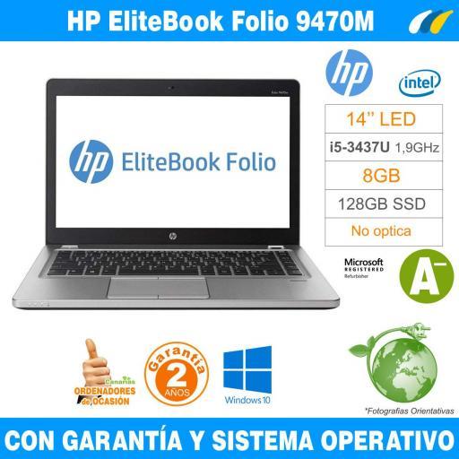 Intel i5-3437U 1,90 GHz  – 8GB – 128 GB SSD  - HP EliteBook Folio 9470M [0]