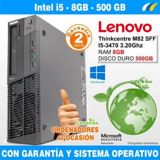 Intel Core I5-3470 3.20GHz - 8GB - 500GB  - ​​LENOVO THINKCENTRE M82 SFF