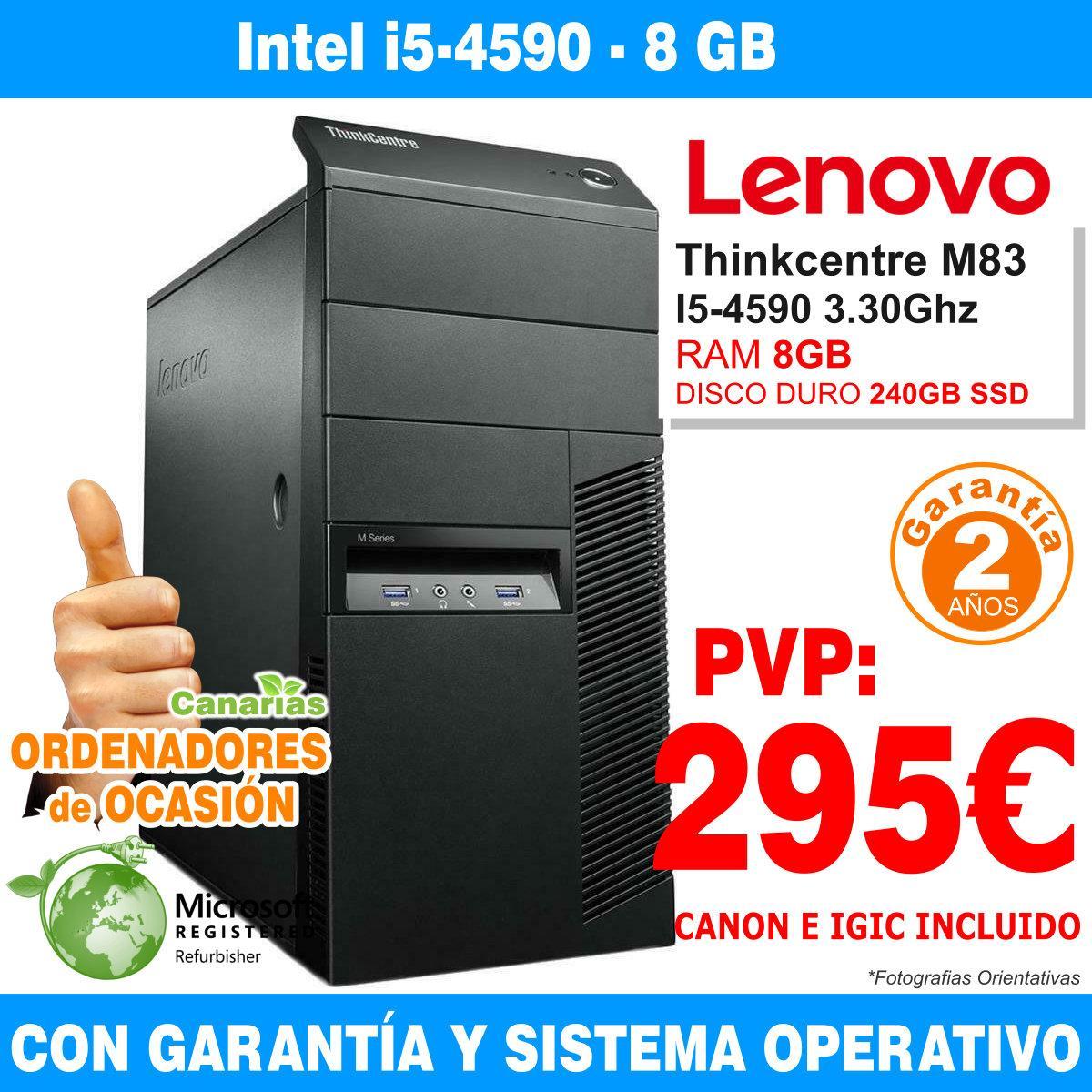 Intel Core I5-4590 3.30GHz - 8GB - 240GB SSD  - LENOVO THINKCENTRE M83 MT