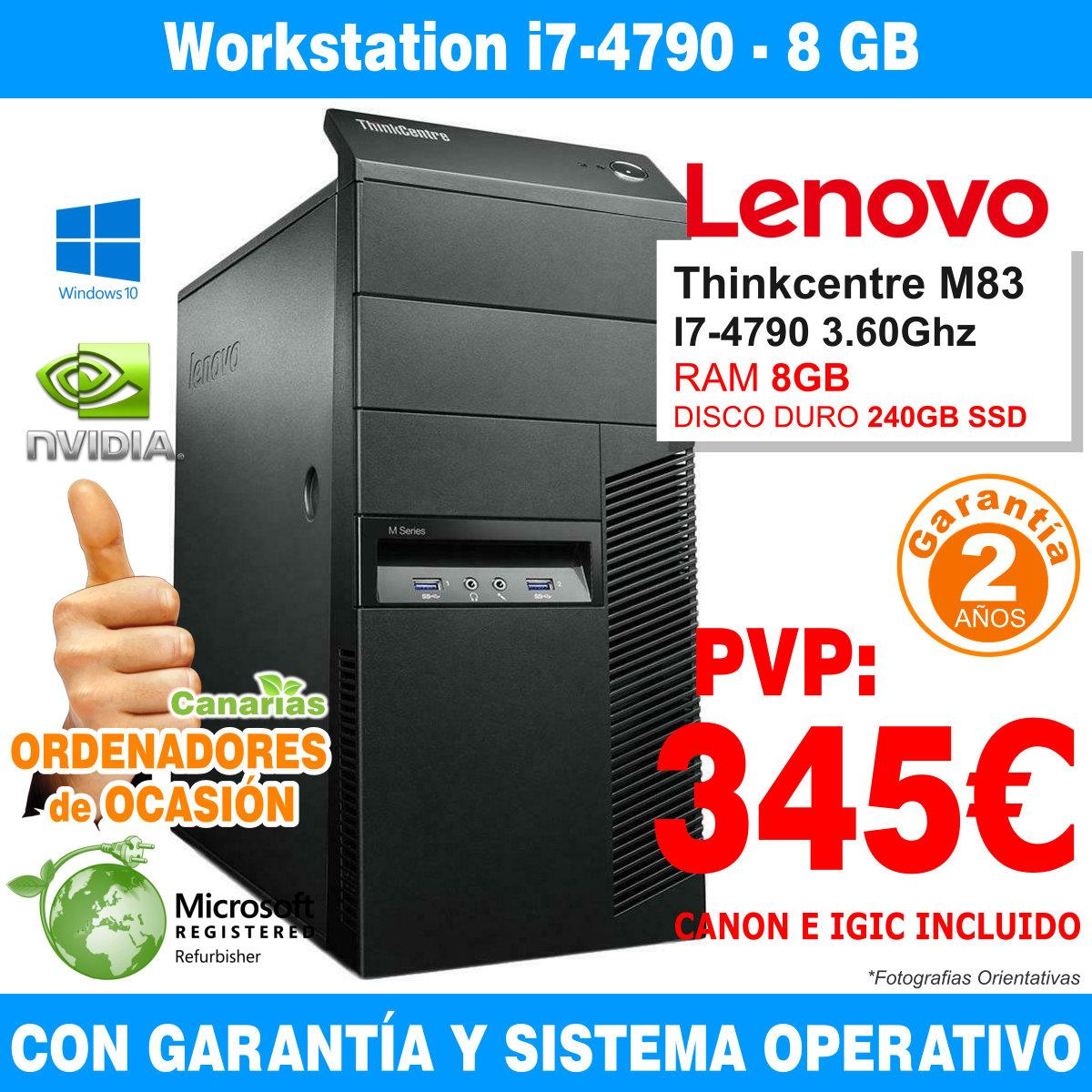 Intel Core I7-4790 3.30GHz - 8GB - 240GB SSD  - LENOVO THINKCENTRE M83 MT