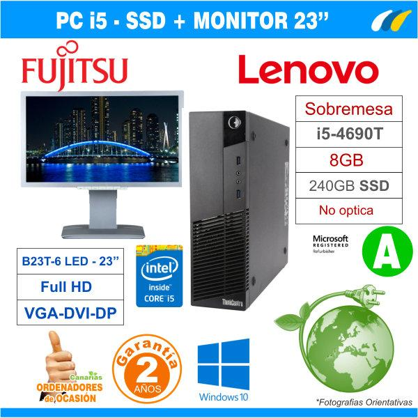 LENOVO THINKCENTRE M83 SFF + Monitor Fujitsu B23T-6 LED Full HD