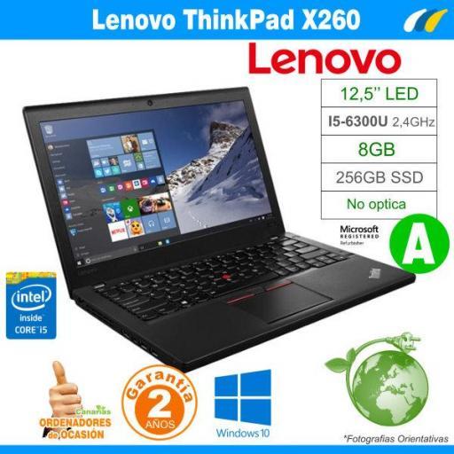 Intel i5-6300U  – 8GB – 256GB SSD - LENOVO THINKPAD X260 - GRADO A
