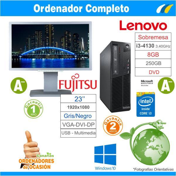 LENOVO THINKCENTRE M73 SFF Intel Core I3-4130 3.40 GHz + Fujitsu Display B23T-6 LED- GRADO A-
