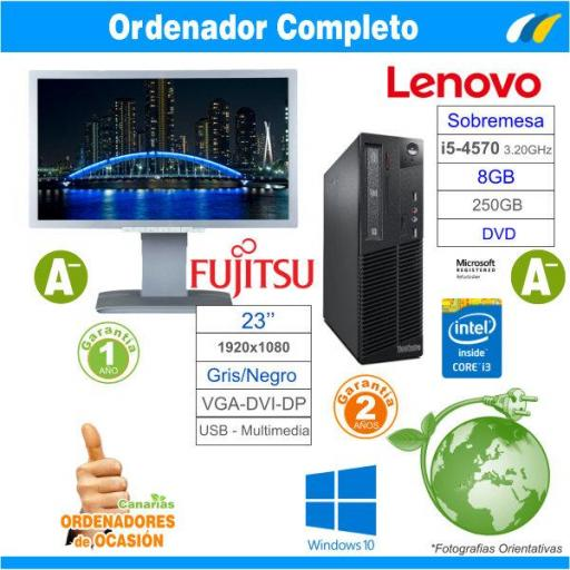 LENOVO THINKCENTRE M73 SFF Intel Core I5-4570 3.20 GHz + Fujitsu Display B23T-6 LED