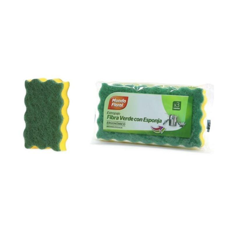 Paquete 3 estropajos de fibra verde y esponja ergonómicos.